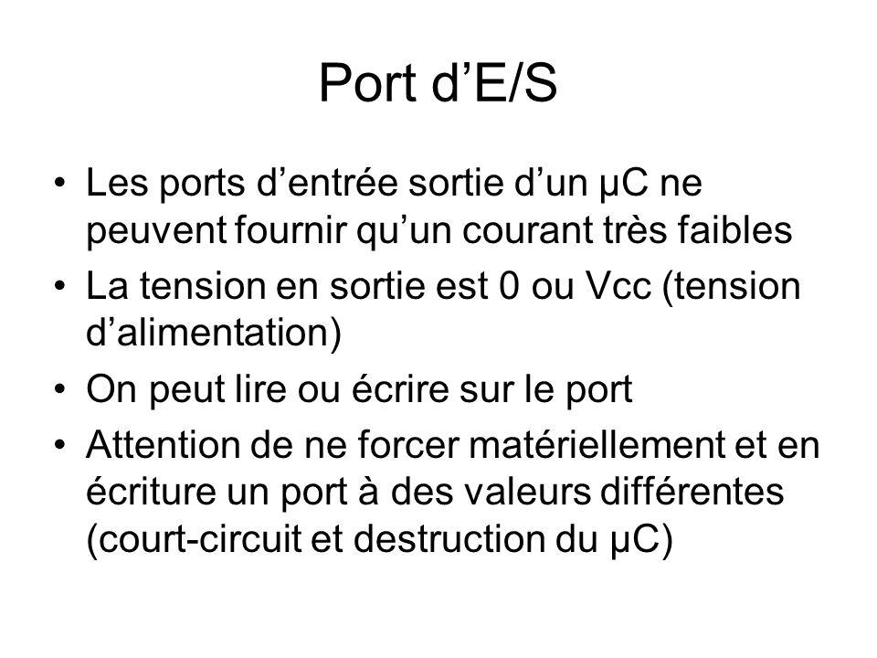 Port d'E/S Les ports d'entrée sortie d'un µC ne peuvent fournir qu'un courant très faibles La tension en sortie est 0 ou Vcc (tension d'alimentation) On peut lire ou écrire sur le port Attention de ne forcer matériellement et en écriture un port à des valeurs différentes (court-circuit et destruction du µC)