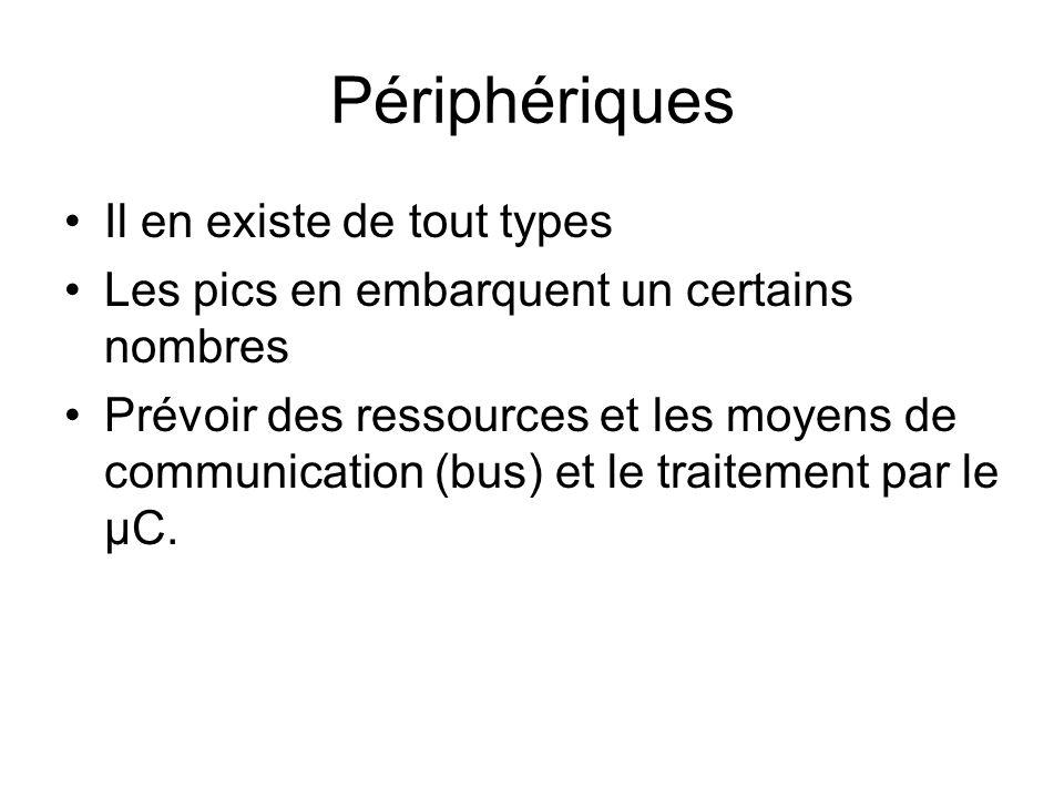 Périphériques Il en existe de tout types Les pics en embarquent un certains nombres Prévoir des ressources et les moyens de communication (bus) et le traitement par le µC.