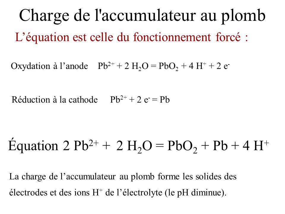 Oxydation à l'anode Pb 2+ + 2 H 2 O = PbO 2 + 4 H + + 2 e - L'équation est celle du fonctionnement forcé : Équation 2 Pb 2+ + 2 H 2 O = PbO 2 + Pb + 4