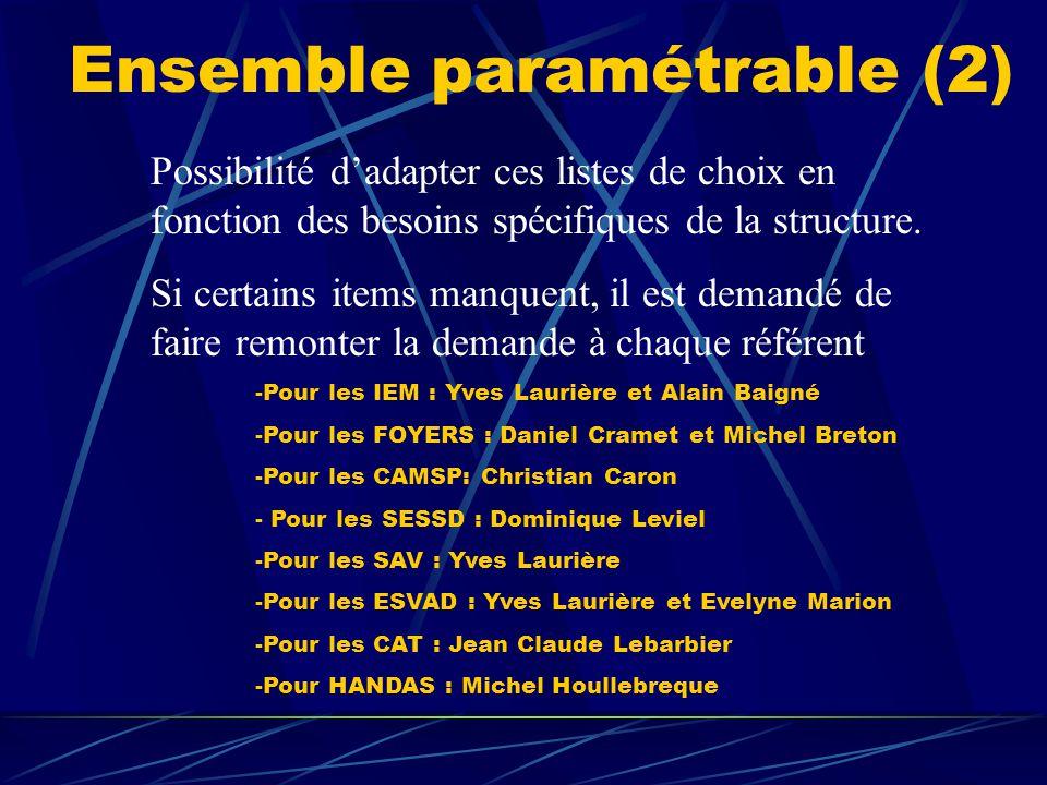Ensemble paramétrable (2) Possibilité d'adapter ces listes de choix en fonction des besoins spécifiques de la structure. Si certains items manquent, i