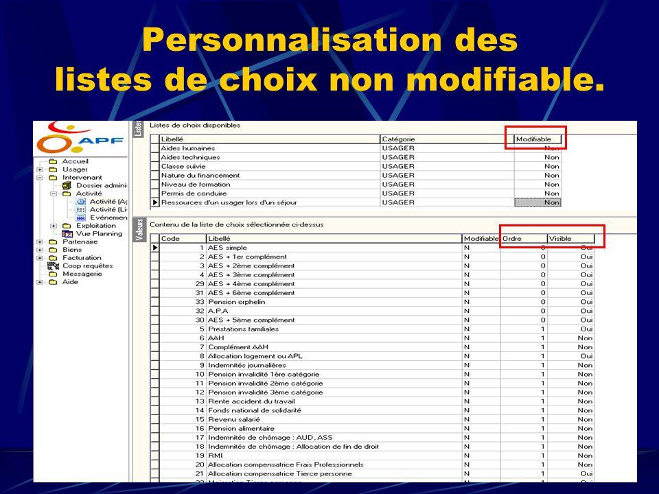 Personnalisation des listes de choix non modifiable.