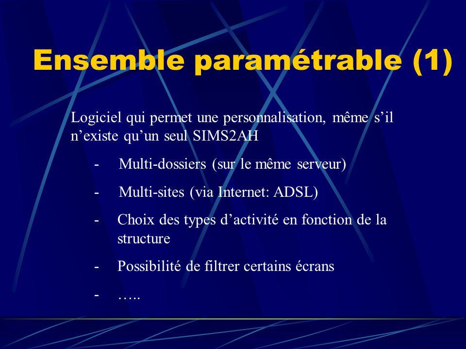 Ensemble paramétrable (1) Logiciel qui permet une personnalisation, même s'il n'existe qu'un seul SIMS2AH - Multi-dossiers (sur le même serveur) - Mul