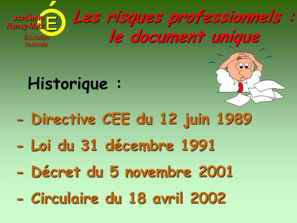 E Éducationnationale académieNancy-Metz - Directive CEE du 12 juin 1989 Historique : - Décret du 5 novembre 2001 - Loi du 31 décembre 1991 Les risques professionnels : le document unique - Circulaire du 18 avril 2002