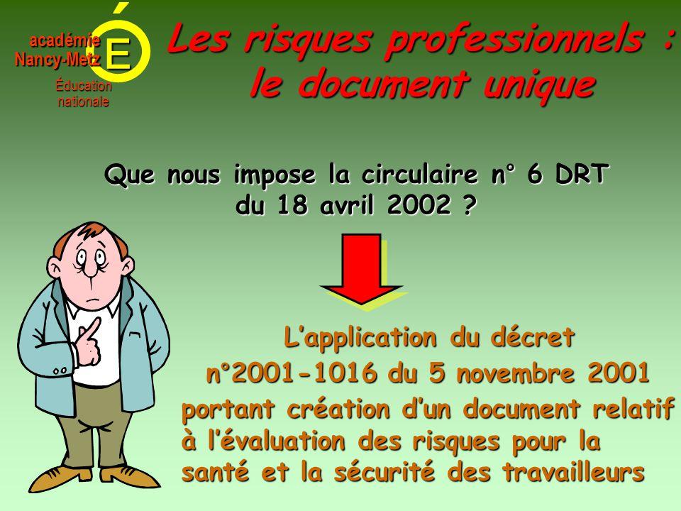 E Éducationnationale académieNancy-Metz Les risques professionnels : le document unique Que nous impose la circulaire n° 6 DRT du 18 avril 2002 ? L'ap