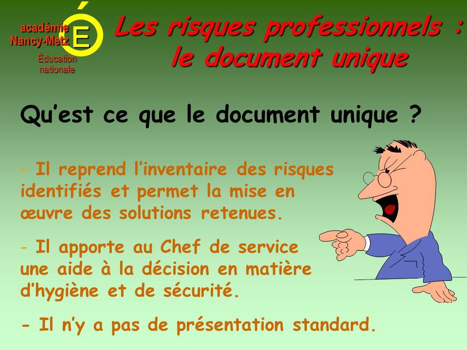 E Éducationnationale académieNancy-Metz - Il reprend l'inventaire des risques identifiés et permet la mise en œuvre des solutions retenues. Qu'est ce