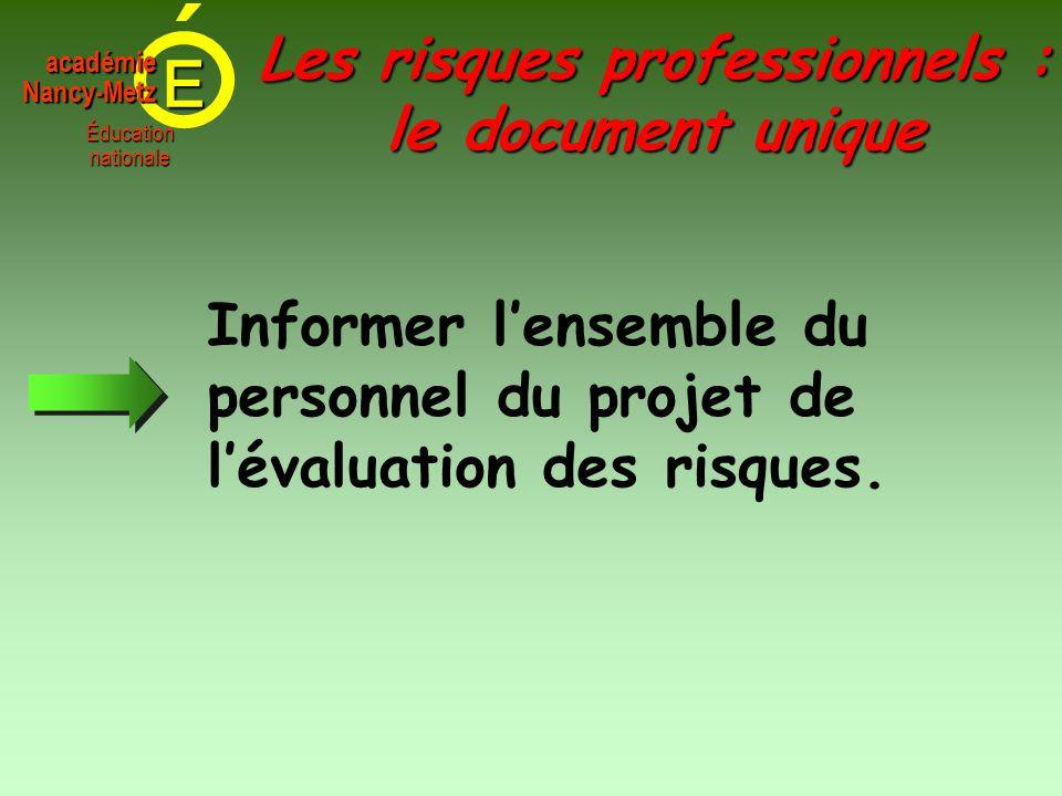 E Éducationnationale académieNancy-Metz Informer l'ensemble du personnel du projet de l'évaluation des risques. Les risques professionnels : le docume
