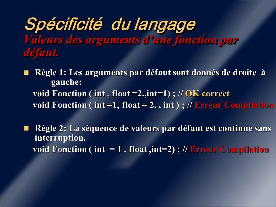 Spécificité du langage Valeurs des arguments d'une fonction par défaut.