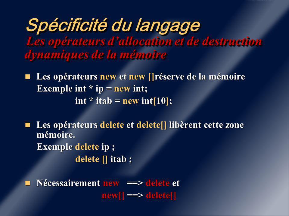 Spécificité du langage Surdéfinition des fonctions Deux fonctions peuvent avoir le même nom mais pas la même liste d'arguments: Deux fonctions peuvent avoir le même nom mais pas la même liste d'arguments: Exemple : Exemple : int Maximum ( int i, int j); int Maximum ( int i, int j); float Maximum ( float x, float y ) ; float Maximum ( float x, float y ) ; Une fonction se distingue par sa liste d'arguments.