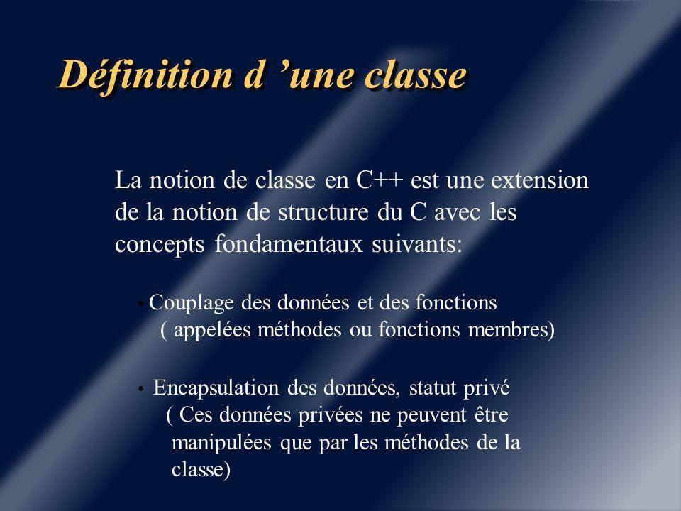 Chapitre 2 Définition d'une classe.