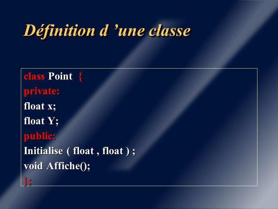 Définition d 'une classe Couplage des données et des fonctions ( appelées méthodes ou fonctions membres) La notion de classe en C++ est une extension de la notion de structure du C avec les concepts fondamentaux suivants: Encapsulation des données, statut privé ( Ces données privées ne peuvent être manipulées que par les méthodes de la classe)