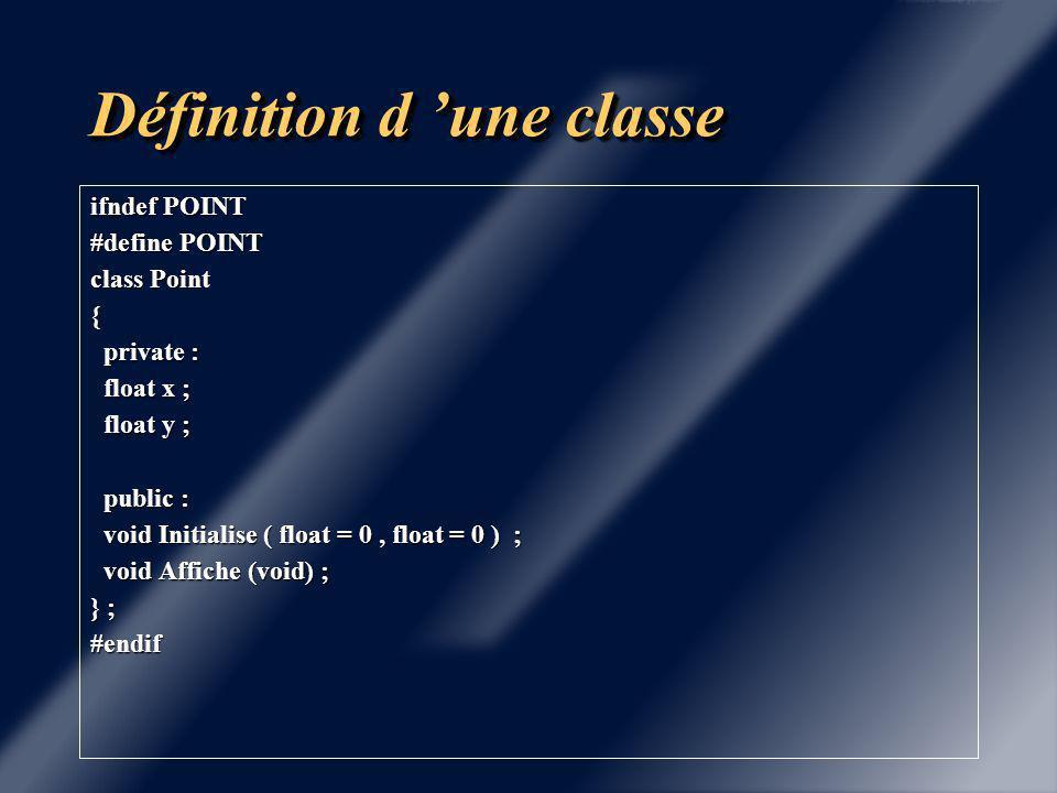 Définition d 'une classe La classe est définie dans un fichier d 'extension.h ou.hxx exemple: Point.hxx Les fonctions membres seront définies dans un fichier d 'extension.cxx,.C,.cc,.cpp exemple: Point.cxx Les fonctions sont rattachées à la classe par l 'opérateur de portée :: Exemple: void Point::Initialise( float a,float b)