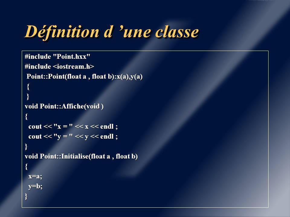 Définition d 'une classe ifndef POINT #define POINT class Point { private : private : float x ; float x ; float y ; float y ; public : public : Point( float = 0, float = 0 ) ; Point( float = 0, float = 0 ) ; void Initialise ( float = 0, float = 0 ) ; void Initialise ( float = 0, float = 0 ) ; void Affiche (void) ; void Affiche (void) ; } ; #endif