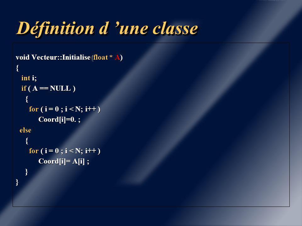 Définition d 'une classe Vecteur::~Vecteur(){ cout << Destructeur Vecteur << N << endl; cout << Destructeur Vecteur << N << endl; delete [] Coord ; delete [] Coord ;} void Vecteur::Affiche() { int i; int i; cout << Pointeur Coord << Coord << endl; cout << Pointeur Coord << Coord << endl; cout << Vecteur de dimension N = << N << endl; cout << Vecteur de dimension N = << N << endl; for ( i = 0 ; i < N ; i++ ) for ( i = 0 ; i < N ; i++ ) cout << Coord[i] << endl; cout << Coord[i] << endl;}