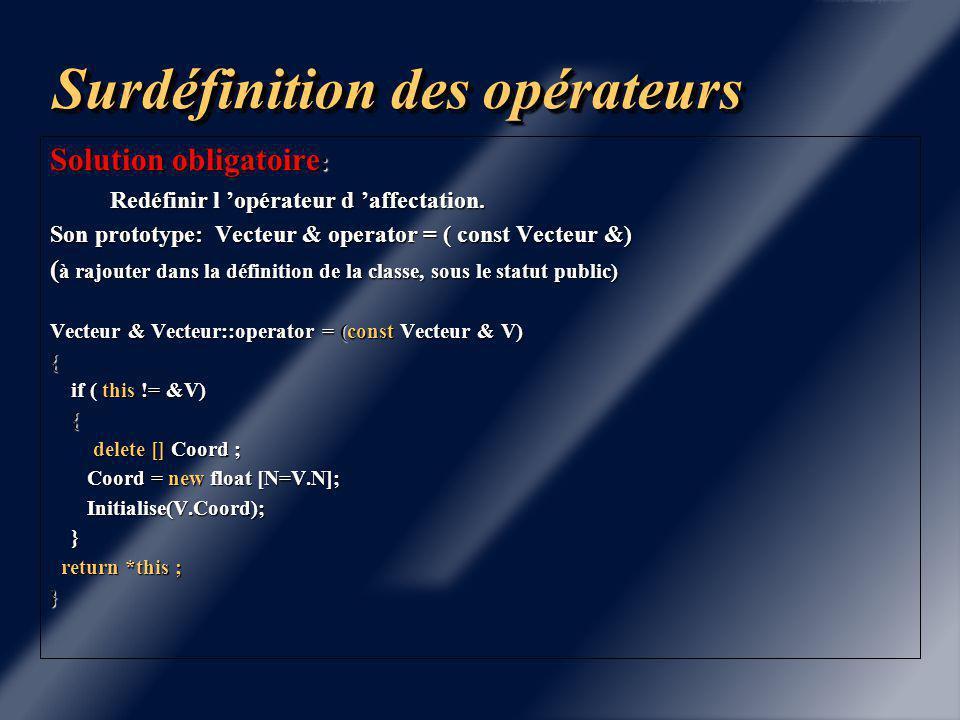 Surdéfinition des opérateurs Problématique de l 'opérateur d 'affectation : V2=V1 Problématique de l 'opérateur d 'affectation : V2=V1 Vecteur V1 Vecteur V2 Vecteur V1 Vecteur V2 Objet Vecteur Tableau Dynamique A1 Objet Vecteur Tableau Dynamique A1