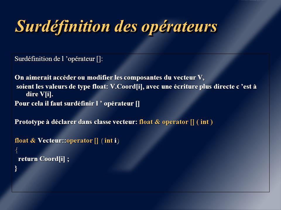 Surdéfinition des opérateurs Vecteur V1 Vecteur V2 Vecteur V1 Vecteur V2 Objet Vecteur Tableau Dynamique Objet Vecteur Afin d'éviter de dupliquer la zone mémoire, ce problème peut être traiter avec un compteur de référence sur cette zone.