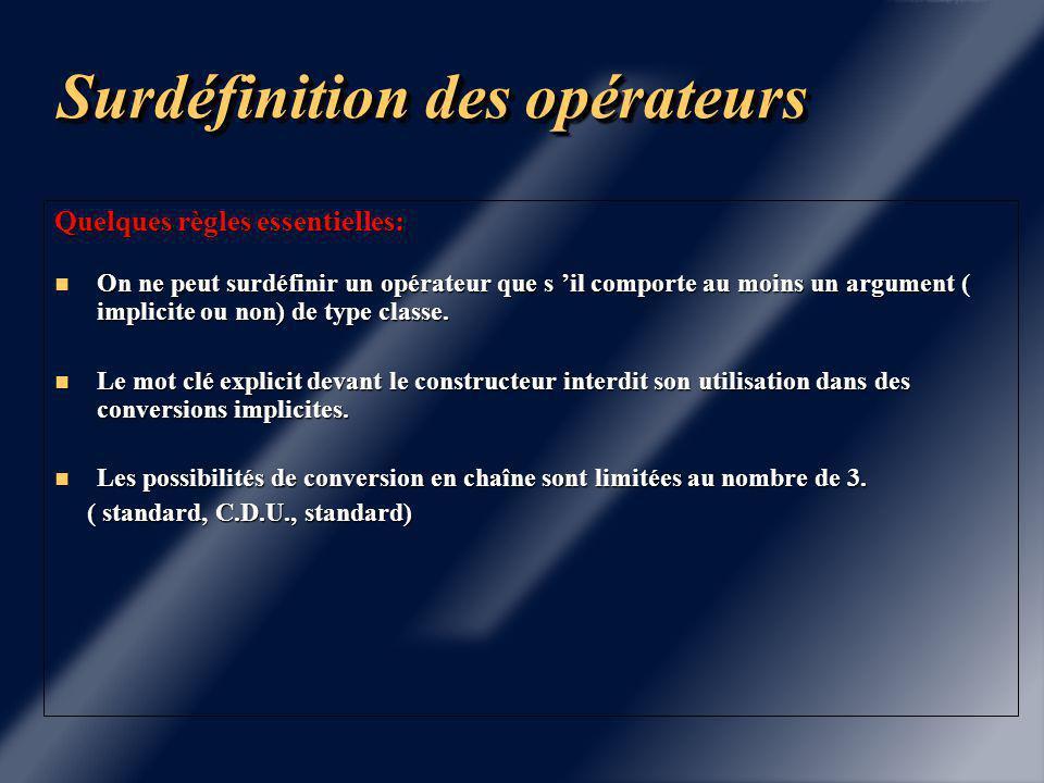 Surdéfinition des opérateurs class Point { class Complex { float x ; float x ; float y ; float y ; ….