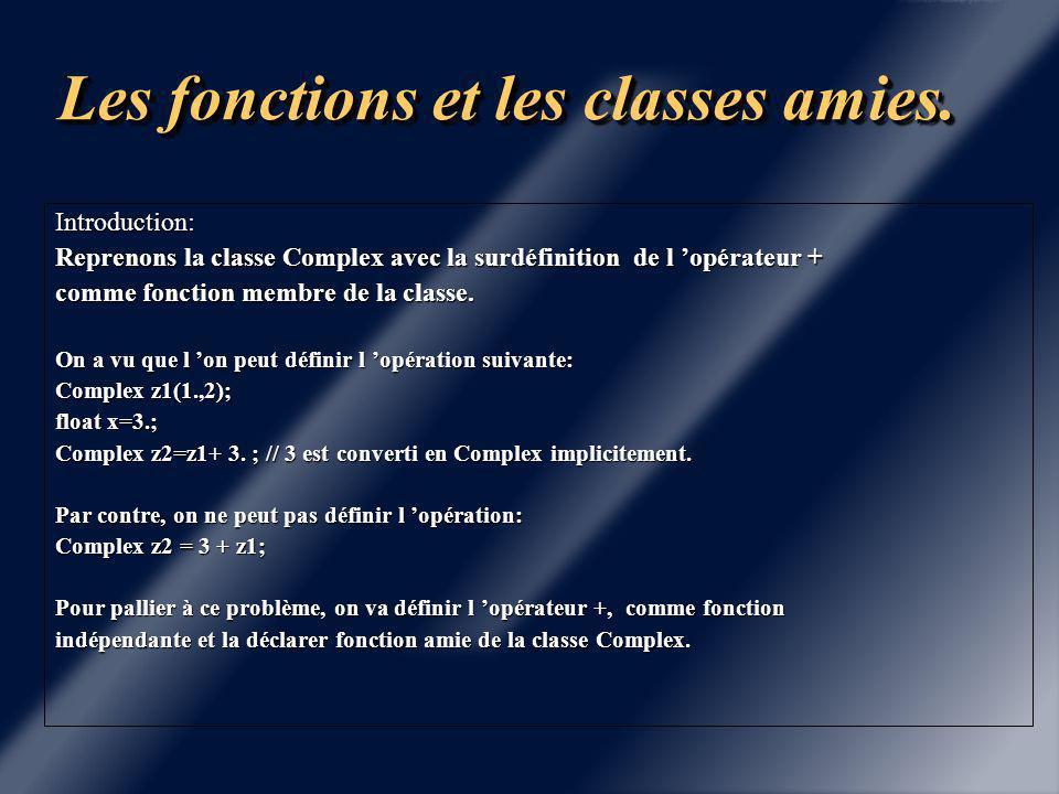 Chapitre 4 Les fonctions et classes amies