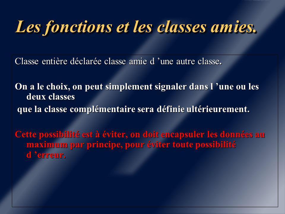 Les fonctions et les classes amies.