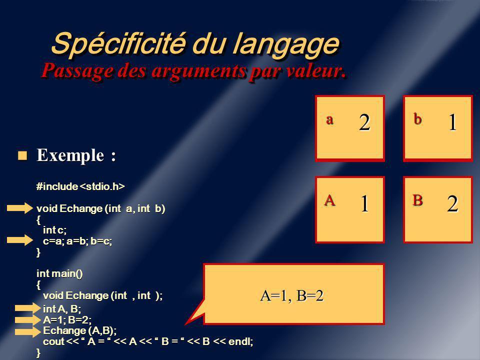 Spécificité du langage Prototypage Obligatoire Il faut mettre en début de programme la liste des prototypes de fonctions appelées Il faut mettre en début de programme la liste des prototypes de fonctions appelées Exemple : #include int main () Exemple : #include int main () { float AireRectangle(float,float); float Longueur = 10.; float AireRectangle(float,float); float Longueur = 10.; float Largeur=5.; float Largeur=5.; float Aire = AireRectangle(Longueur,Largeur); } float Aire = AireRectangle(Longueur,Largeur); } float AireRectangle(float L, floatl ) { …