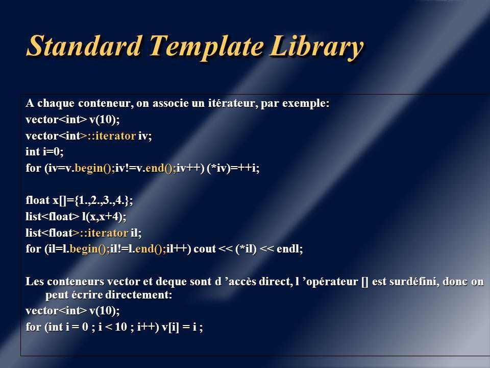 Standard template Library Cette librairie fournit des patrons de fonctions et de classes permettant de définir des collections (conteneurs) d 'objets et des utilitaires (itérateurs et algorithmes) pour manipuler ces collections d 'objets.