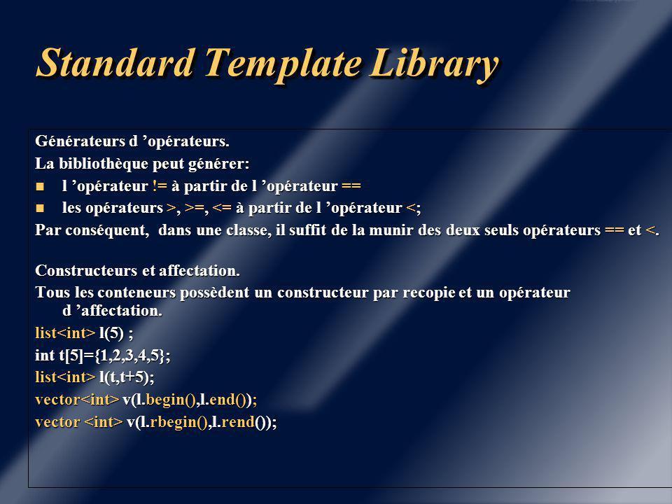 Standard Template Library Notion d 'algorithmes: A tous ces conteneurs sont associés des patrons de fonctions qui effectuent des opérations.