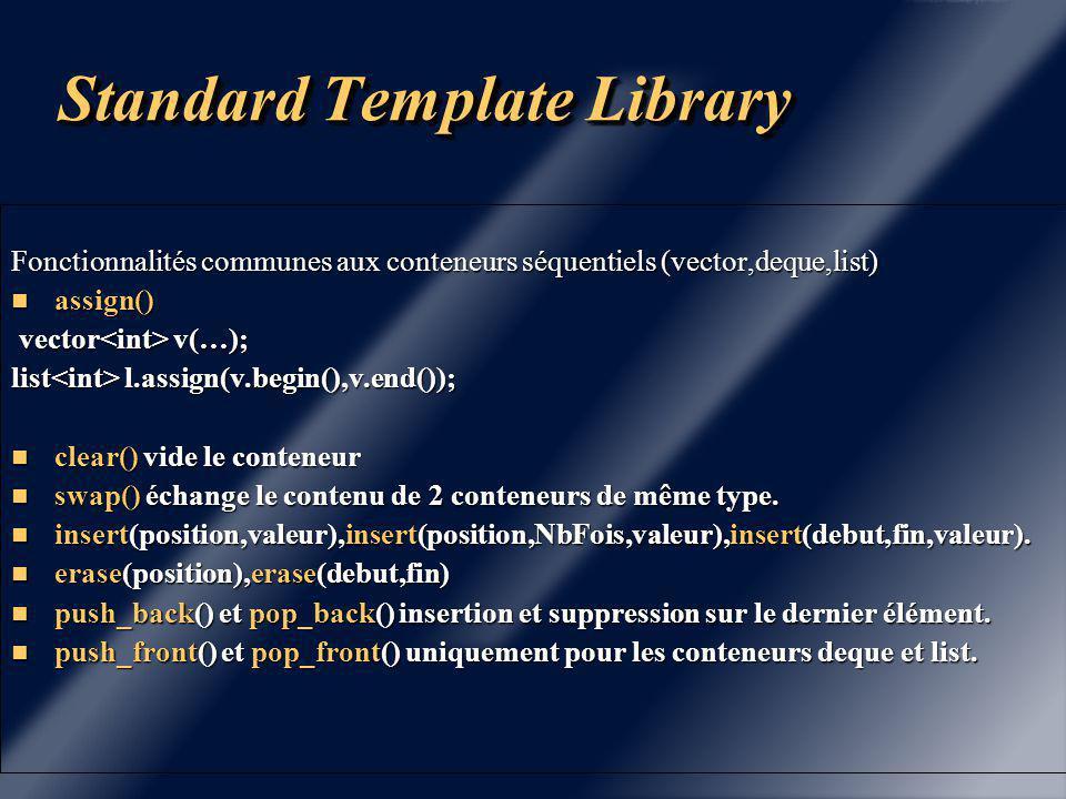 Standard Template Library Générateurs d 'opérateurs.