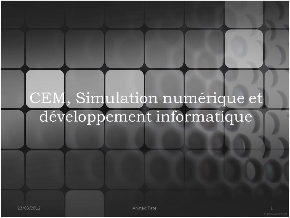 CEM, Simulation numérique et développement informatique 23/03/20121Ahmad Patel