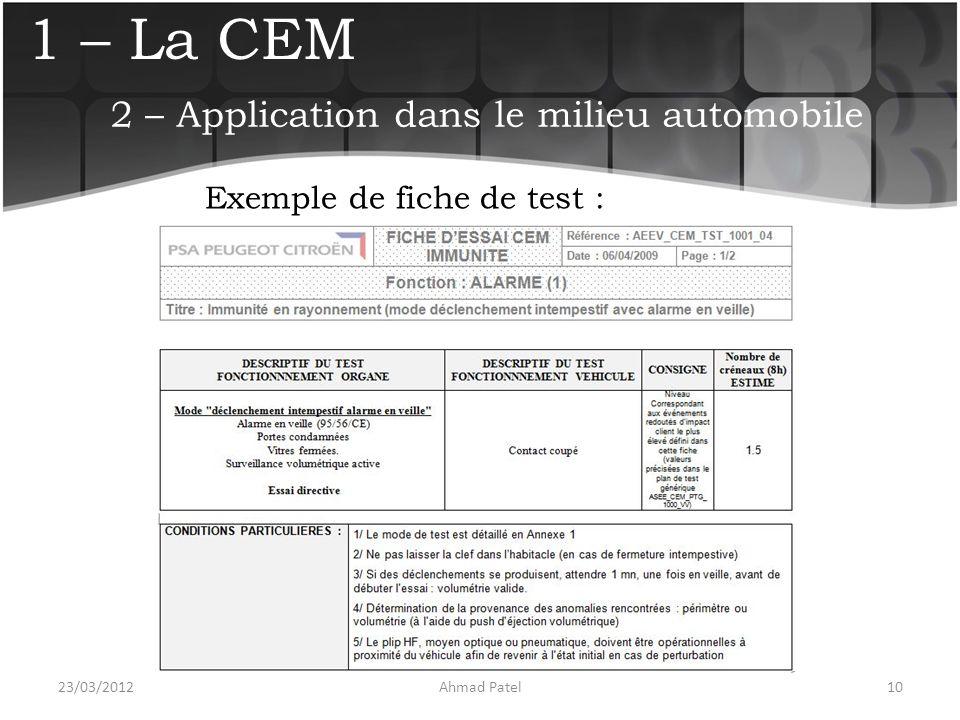 1 – La CEM Exemple de fiche de test : 23/03/201210Ahmad Patel 2 – Application dans le milieu automobile