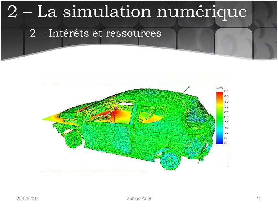 2 – La simulation numérique 23/03/201215Ahmad Patel 2 – Intérêts et ressources