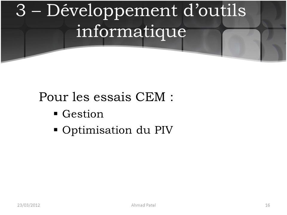 3 – Développement d'outils informatique Pour les essais CEM :  Gestion  Optimisation du PIV 23/03/201216Ahmad Patel