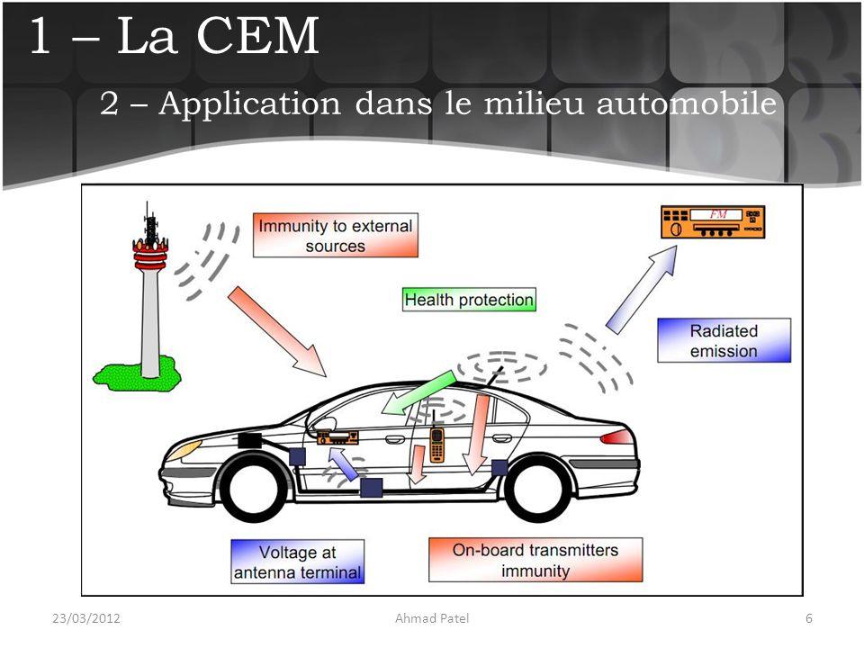 1 – La CEM Utilisation de moyens d'essais  Chambre anéchoïque  Antenne  Instruments de mesure  … 23/03/20127Ahmad Patel 2 – Application dans le milieu automobile