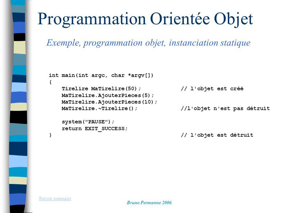 Programmation Orientée Objet Exemple, programmation objet, instanciation statique Retour sommaire Bruno Permanne 2006 int main(int argc, char *argv[])