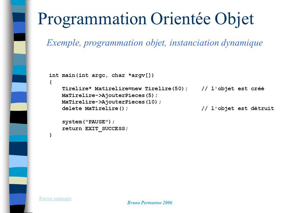 Programmation Orientée Objet Exemple, programmation objet, instanciation dynamique Retour sommaire Bruno Permanne 2006 int main(int argc, char *argv[]