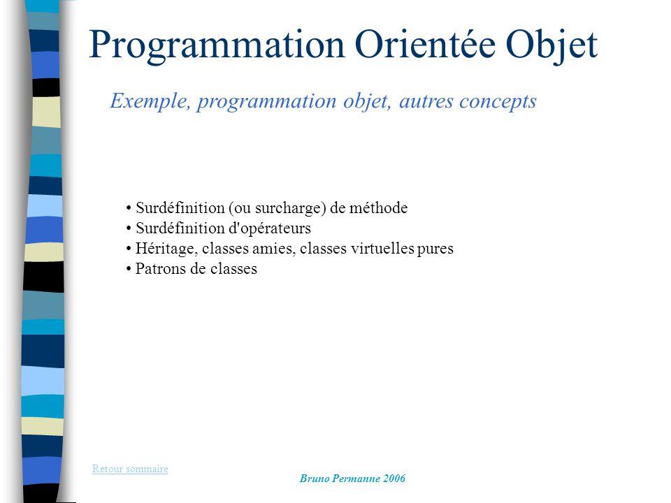 Programmation Orientée Objet Exemple, programmation objet, autres concepts Retour sommaire Bruno Permanne 2006 Surdéfinition (ou surcharge) de méthode