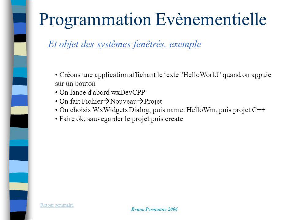 Programmation Evènementielle Et objet des systèmes fenêtrés, exemple Retour sommaire Bruno Permanne 2006 Créons une application affichant le texte