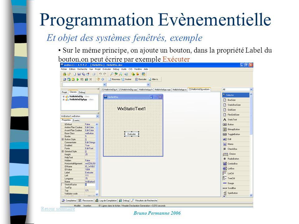 Programmation Evènementielle Et objet des systèmes fenêtrés, exemple Retour sommaire Bruno Permanne 2006 Sur le même principe, on ajoute un bouton, da