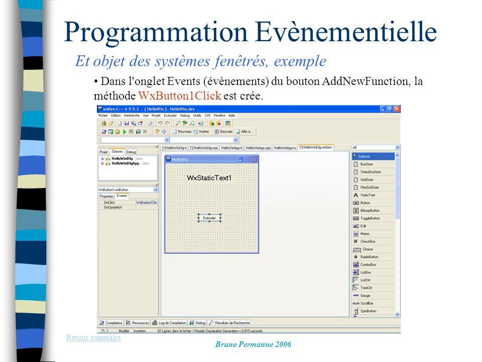 Programmation Evènementielle Et objet des systèmes fenêtrés, exemple Retour sommaire Bruno Permanne 2006 Dans l'onglet Events (évènements) du bouton A