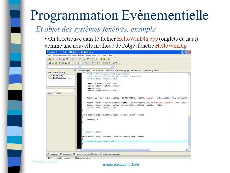 Programmation Evènementielle Et objet des systèmes fenêtrés, exemple Retour sommaire Bruno Permanne 2006 On la retrouve dans le fichier HelloWinDlg.cp
