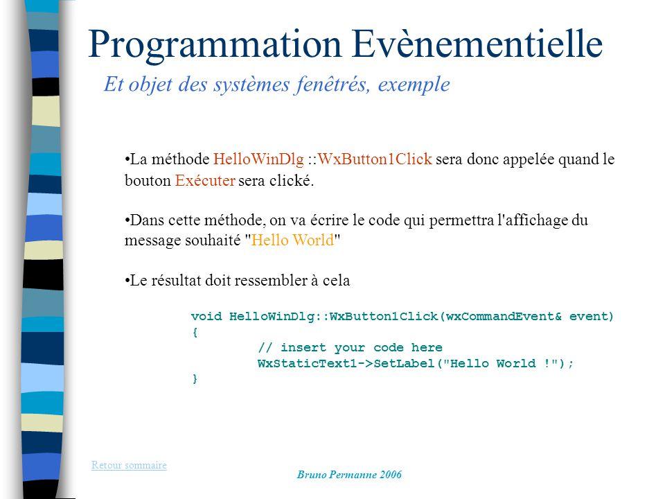 Programmation Evènementielle Et objet des systèmes fenêtrés, exemple Retour sommaire Bruno Permanne 2006 La méthode HelloWinDlg ::WxButton1Click sera
