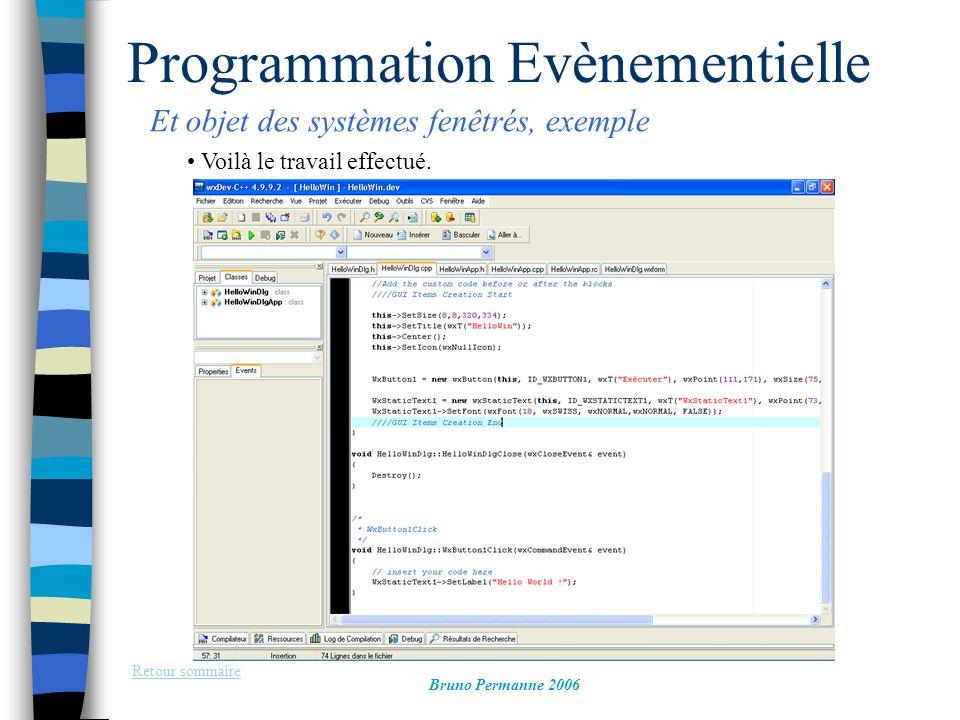 Programmation Evènementielle Et objet des systèmes fenêtrés, exemple Retour sommaire Bruno Permanne 2006 Voilà le travail effectué.