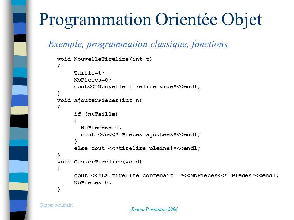 Programmation Orientée Objet Exemple, programmation classique, fonctions Retour sommaire Bruno Permanne 2006 int main(int argc, char *argv[]) { NouvelleTirelire(50); AjouterPieces(5); AjouterPieces(10); CasserTirelire(); system( PAUSE ); return EXIT_SUCCESS; }