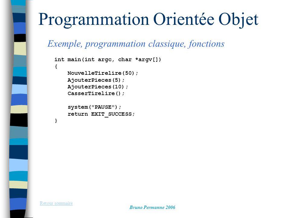 Programmation Orientée Objet Exemple, programmation classique, fonctions Retour sommaire Bruno Permanne 2006 int main(int argc, char *argv[]) { Nouvel