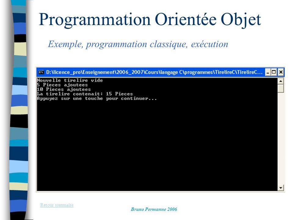 Programmation Evènementielle Et objet des systèmes fenêtrés, exemple Retour sommaire Bruno Permanne 2006 On Peut choisir une taille de caractères plus grande de l objet StaticText par la propriété (colonne de gauche) Font  EditFont: