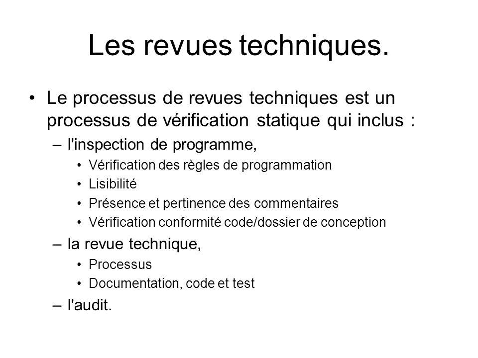 Les revues techniques. Le processus de revues techniques est un processus de vérification statique qui inclus : –l'inspection de programme, Vérificati