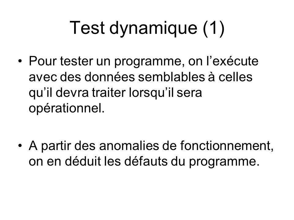 Test dynamique (1) Pour tester un programme, on l'exécute avec des données semblables à celles qu'il devra traiter lorsqu'il sera opérationnel. A part