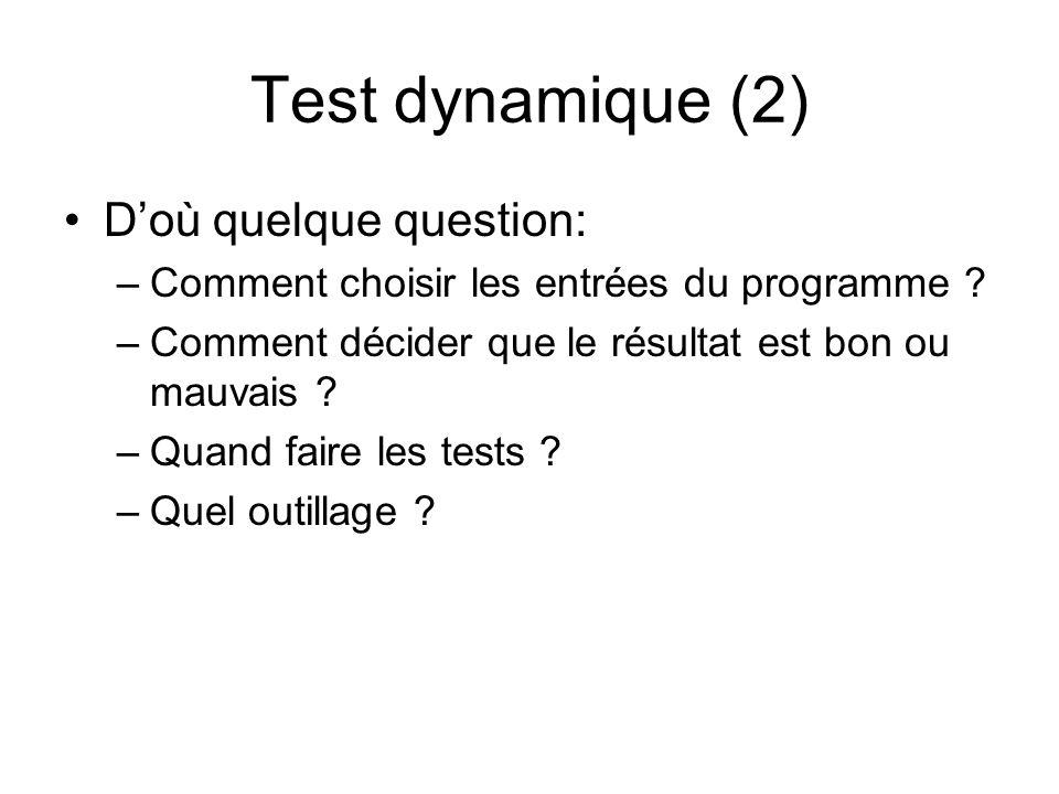 Test dynamique (2) D'où quelque question: –Comment choisir les entrées du programme ? –Comment décider que le résultat est bon ou mauvais ? –Quand fai