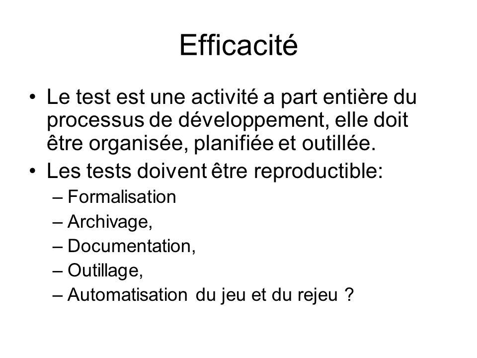 Efficacité Le test est une activité a part entière du processus de développement, elle doit être organisée, planifiée et outillée. Les tests doivent ê