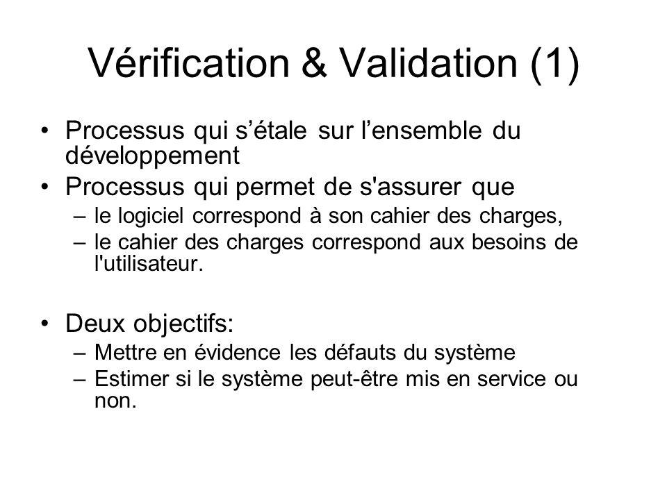 Vérification & Validation (1) Processus qui s'étale sur l'ensemble du développement Processus qui permet de s'assurer que –le logiciel correspond à so