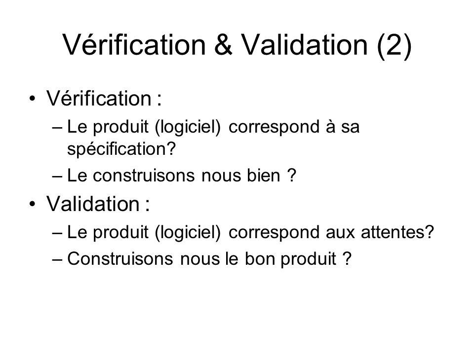Vérification & Validation (2) Vérification : –Le produit (logiciel) correspond à sa spécification? –Le construisons nous bien ? Validation : –Le produ