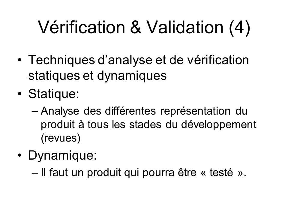 Vérification & Validation (4) Techniques d'analyse et de vérification statiques et dynamiques Statique: –Analyse des différentes représentation du pro